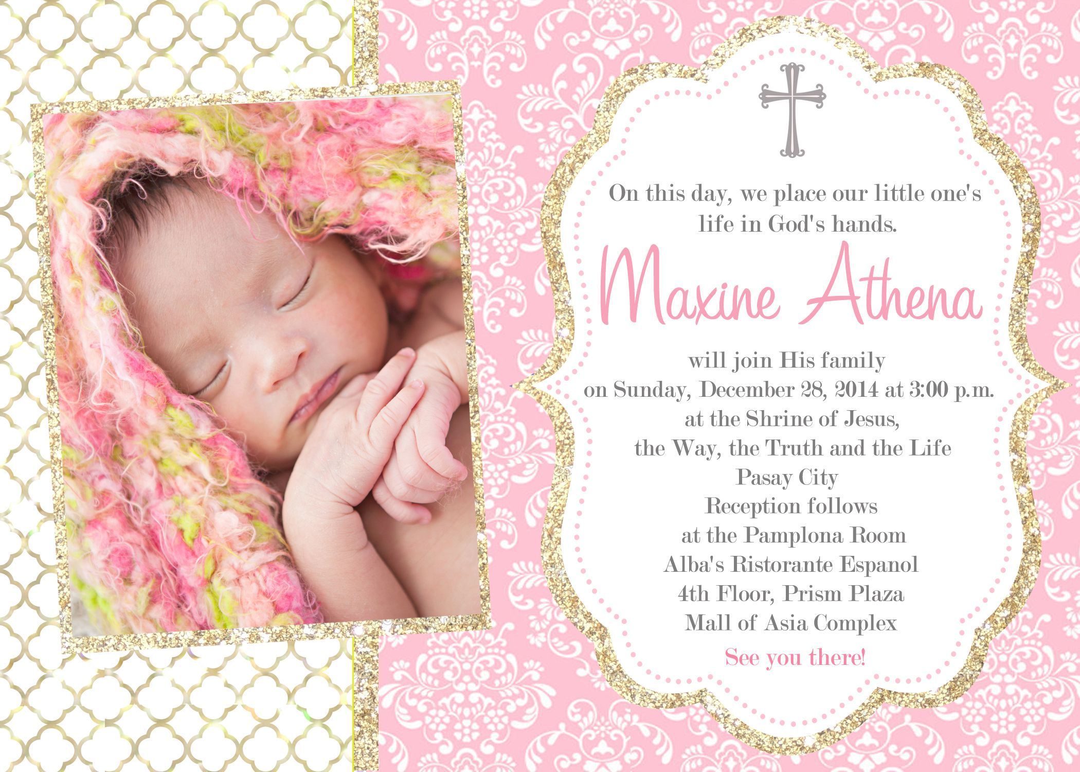 girl catholic baptism invitations first communion baptism