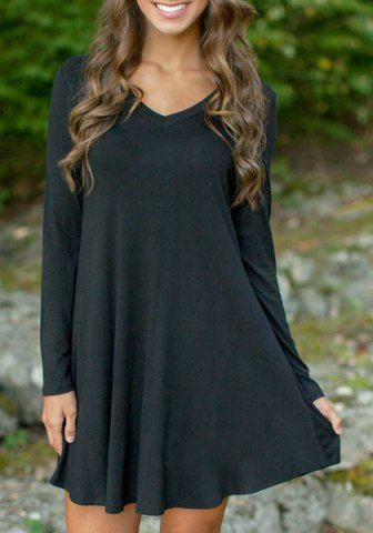 3f29ff3222 Simple Style Black V-Neck Long Sleeve Loose Mini Dress For Women Casual  Dresses