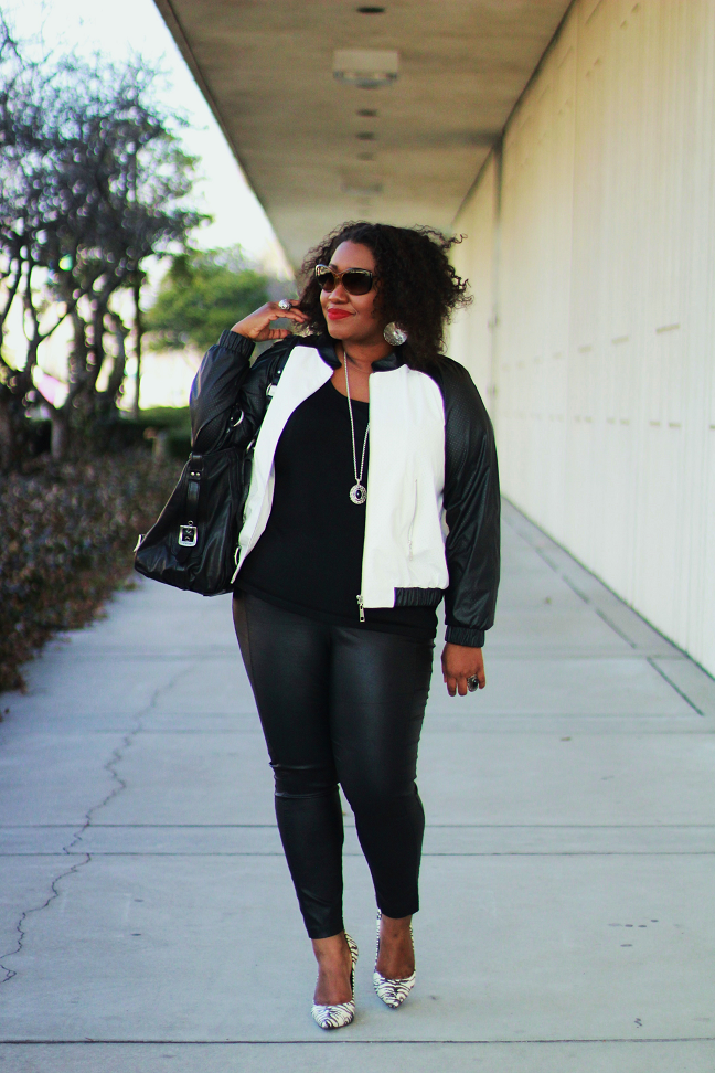 9ab0e7d955 Shapely Chic Sheri - Curvy Fashion and Style Blog  Sporty Chic  Faux Leather  Varsity Jacket + Animal Print Pumps