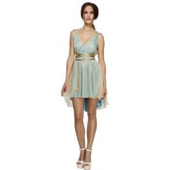 Ladies Green Ancient Grecian Queen Fancy Dress Costume