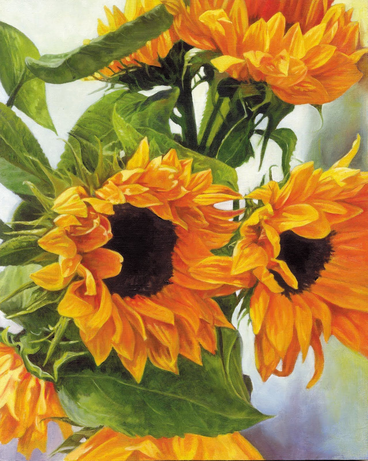 Sunflower Paintings Sunflowers Oil Painting On Board 8in X 10 In Sunflower Canvas Paintings Sunflower Painting Sunflower Art