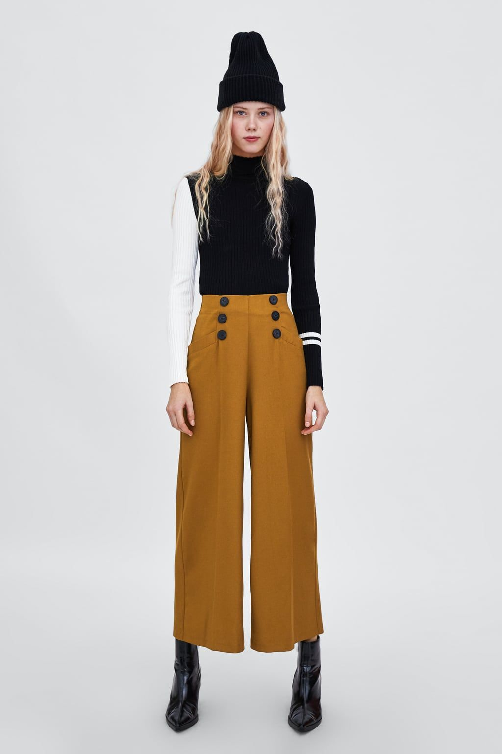5058bcf720 Buttoned palazzo trousers | Fashion Finds | Wide leg pants, Wide ...