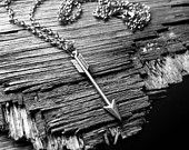 Arrow Necklace Large Pendant in antiqued Brass Warrior Statement great layering piece