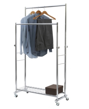 Commercial Double Rod Garment Rack Silver With Images Garment Racks Clothing Rack Hanging Clothes Racks