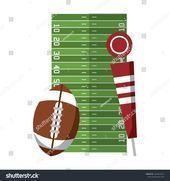 American football sport ball and pitch marker on field cartoon vector illustrati... - #american ...