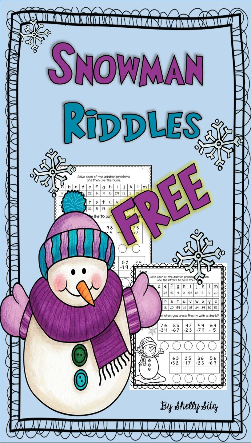 Snowman Riddles Free Math For Second Grade Free Educational