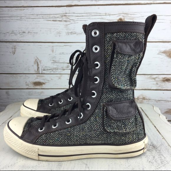 0d9834f8926f68  Converse  Military X All Stars Hi Top Pocket Boot A rare pair of converse  boot sneakers. Leather and herringbone tweed combo. Snap cargo pockets on  the ...