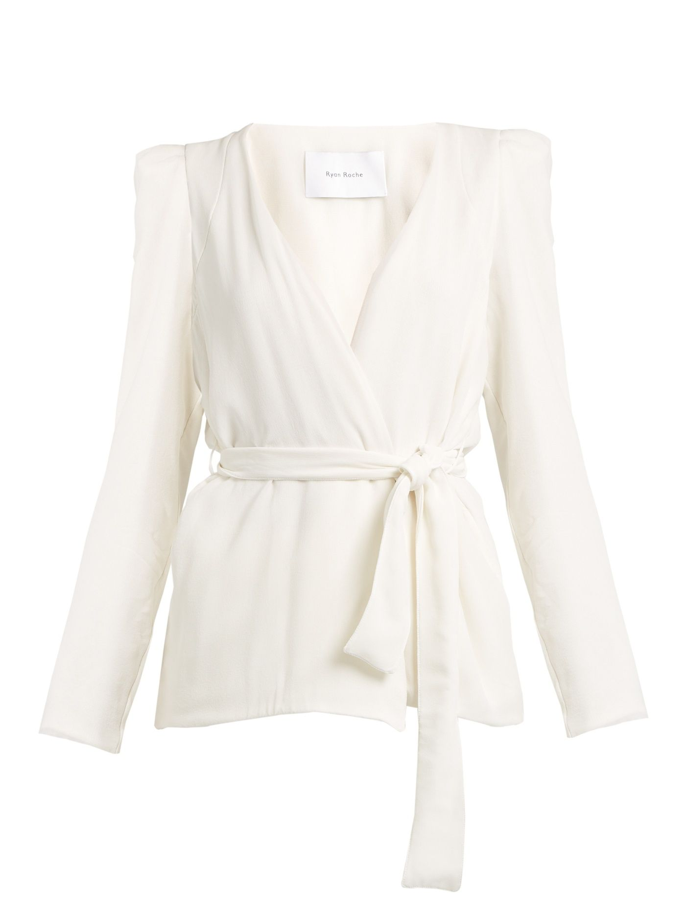 Click here to buy Ryan Roche Belted wrap-front silk blazer at MATCHESFASHION.COM