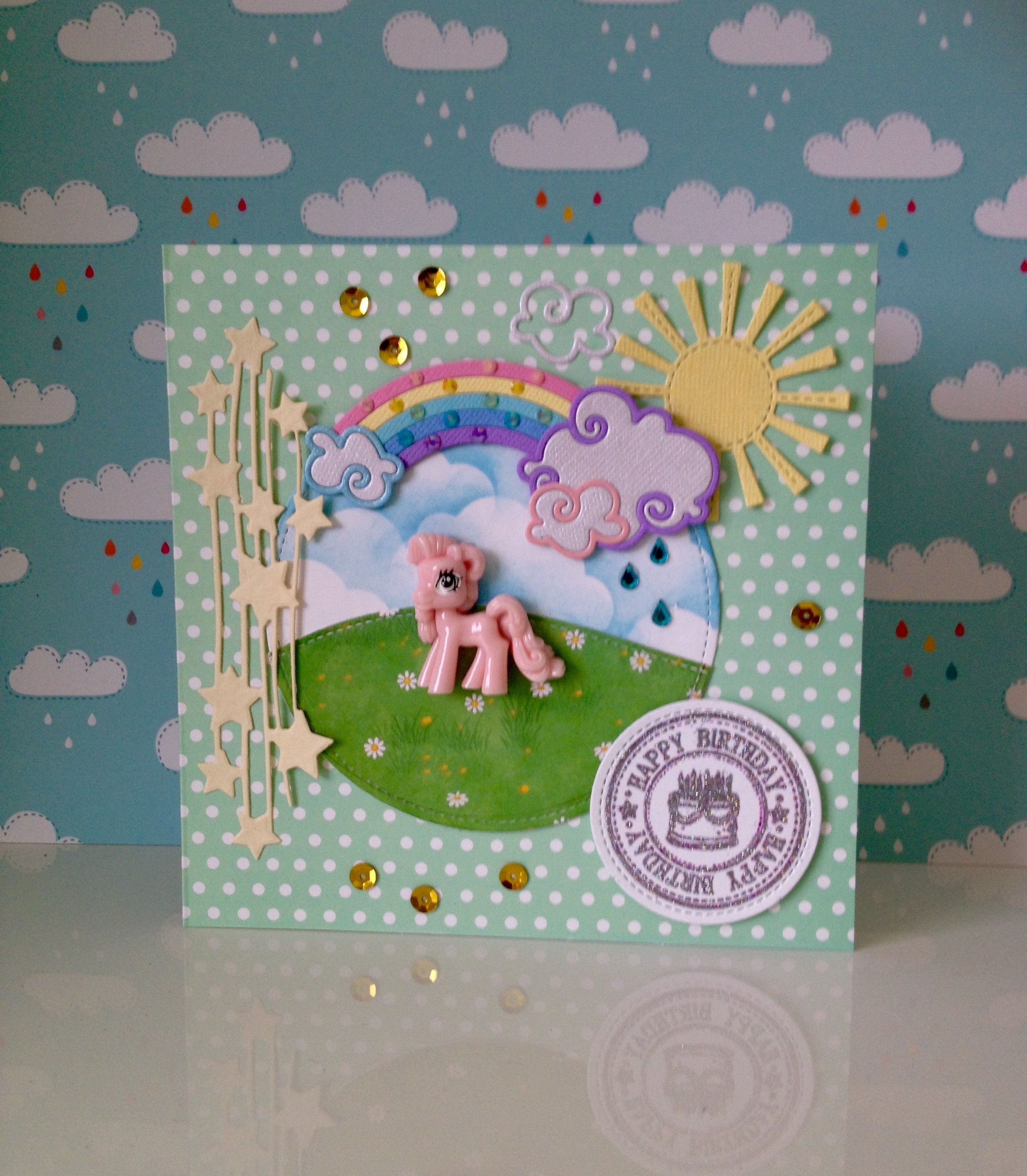 handmade my little pony birthday card made by