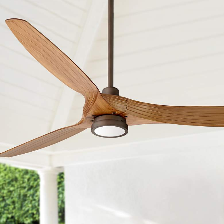 60 Aireon Bronze And Walnut Damp Rated Led Ceiling Fan 57w19 Lamps Plus Led Ceiling Fan Ceiling Fan