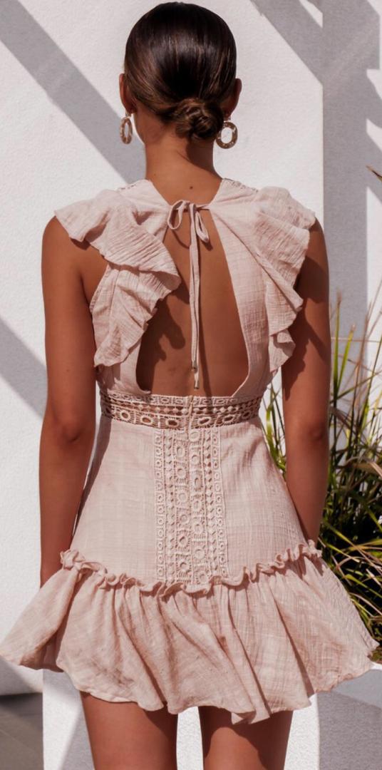 Pink Crochet Lace Plunging Mini Dress Plunge Mini Dress
