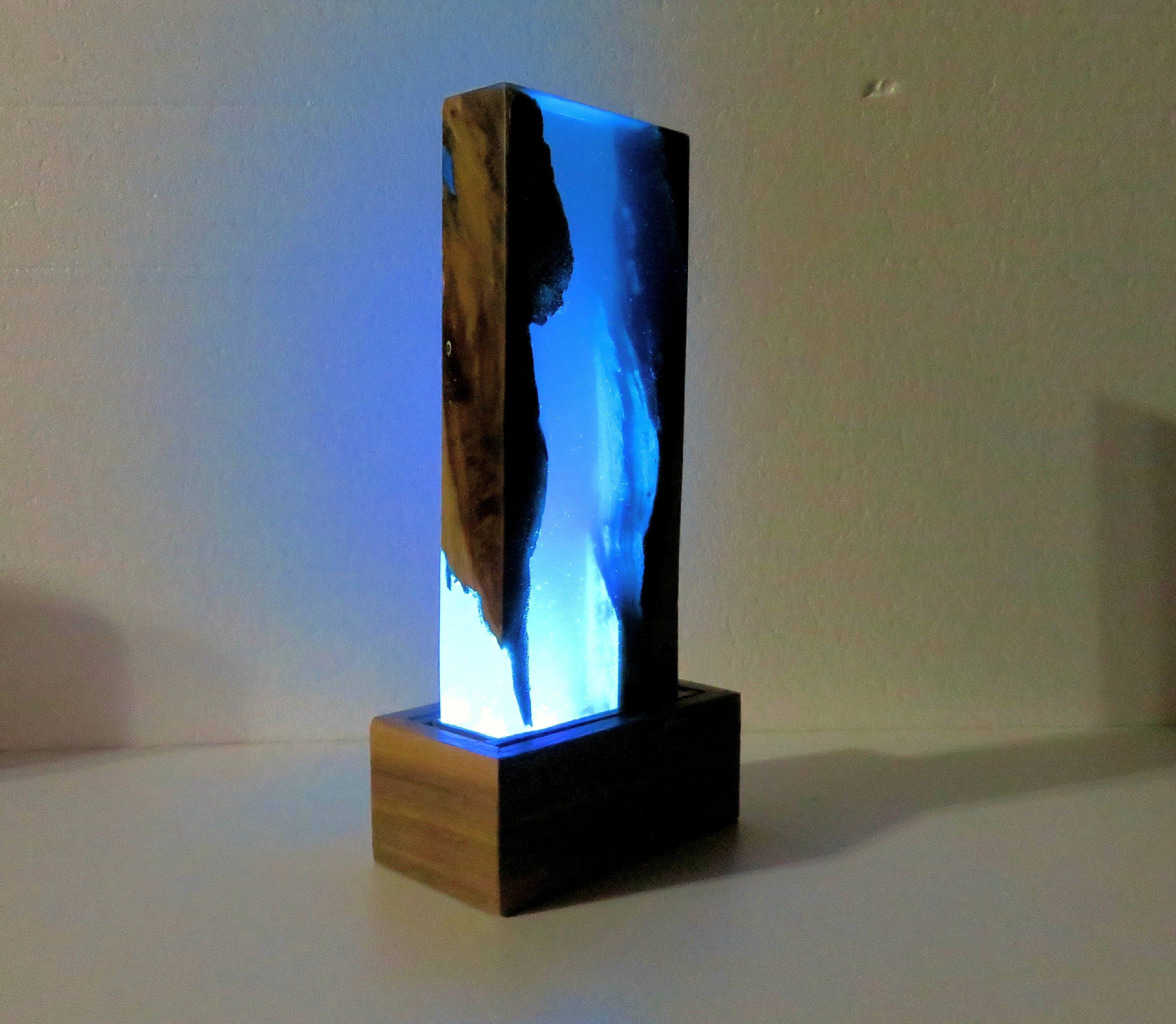Resin wood lamp. Blue resin and wood accent lamp. epoxy