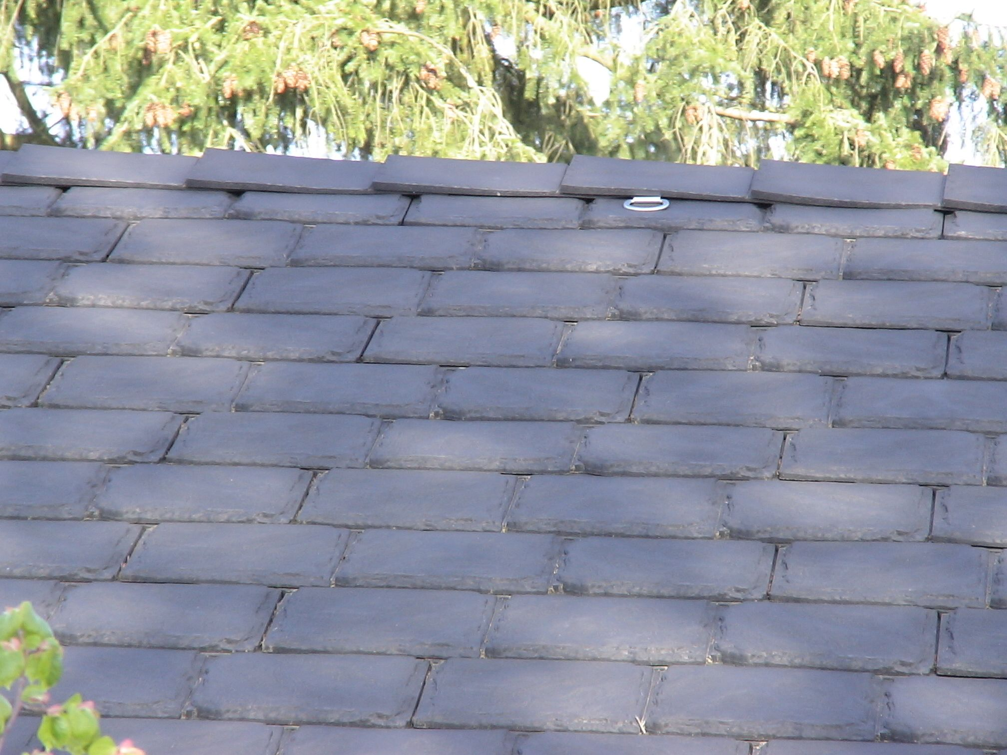 Retrofit Permanent Roof Safety Anchor Installed On A Simulated Slate Rubber Roof Patio Outdoor Decor Installation