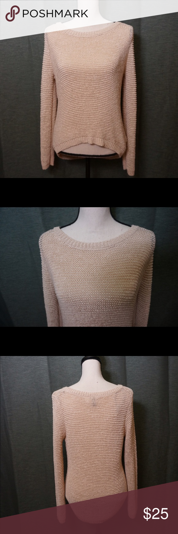 "S5 - H&M sweater Sizing Info: Fit roomy on the mannequin, (Chest 33.8"" x Shoulders 14.9"" x Waist 26.7"" x Hips 35.4"") Material is very stretchy, the knits are really not that close together especially when you stretch the sweater -  would definitely wear something underneath. Worn once. Tag says Xs but fits more like a S. Sweaters Crew & Scoop Necks"