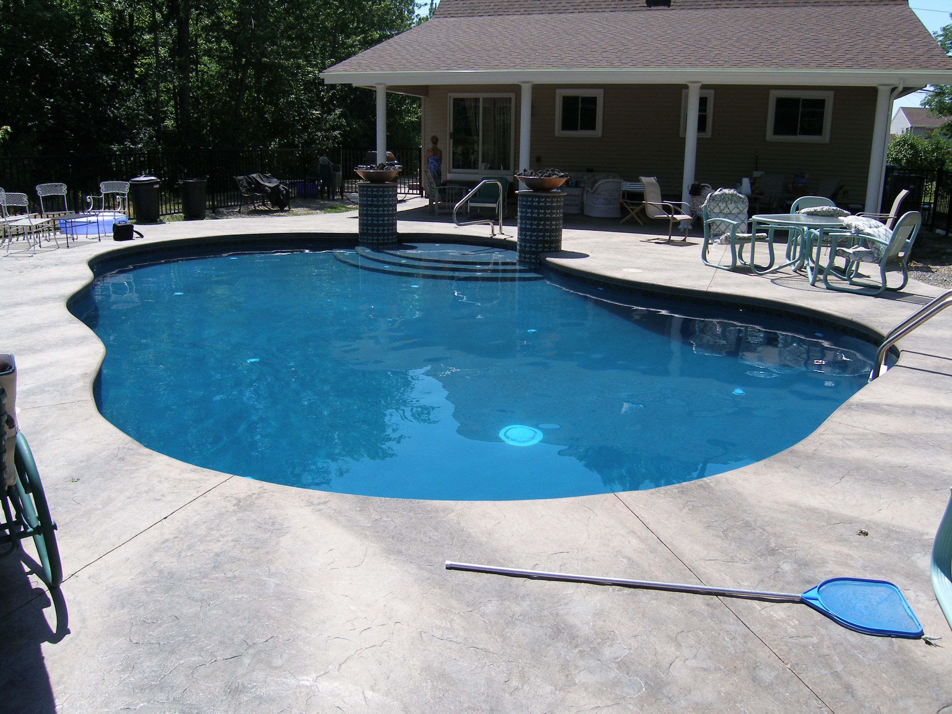 18x34 freeform gunite pool with tanning shelf and two fire bowls