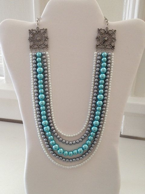 Aqua, Gray & White Pearl Bead Layered 5 Strand with Large Silver Detailed Accent on Top