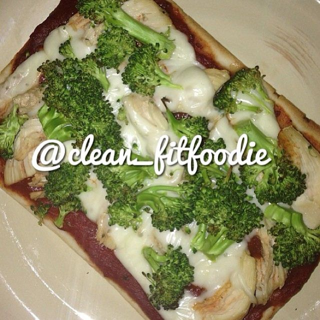 It's a healthy gluten free pizza. * thin crust trader joes gluten free pizza square (sold in refrigerator section) * 1 lowfat mozzerella string cheese * 1 tbsp low sodium tomato paste (add Italian herb spices) * 1 cup broccoli ~ follow instructions for baking the crust and then eat and enjoy.  #cleanfitfoodie #clean_fitfoodie #journey2bfit #healthyeats #nomnomnom #cleaneats #cleaneating #tasty #nomnomnom #eatit #healthy #pizza #foodporn …
