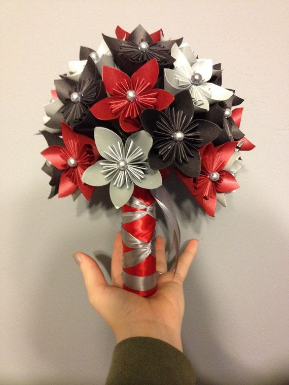 Paper Flower Kusudama Bouquet Red And Black Wedding Origami
