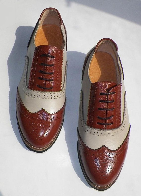 Free shipping - Handmade Brown and beige leather oxford shoes-Custom shoes