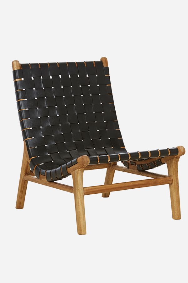 Leather Strapping Tomi Chair Teak Black Sillas Muebles