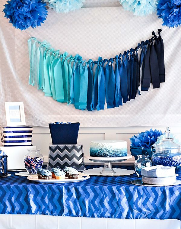 Blue Ombre Dessert Table Boys Birthday Party Baby Boy Birthday Blue Baby Shower Baby Boy Shower