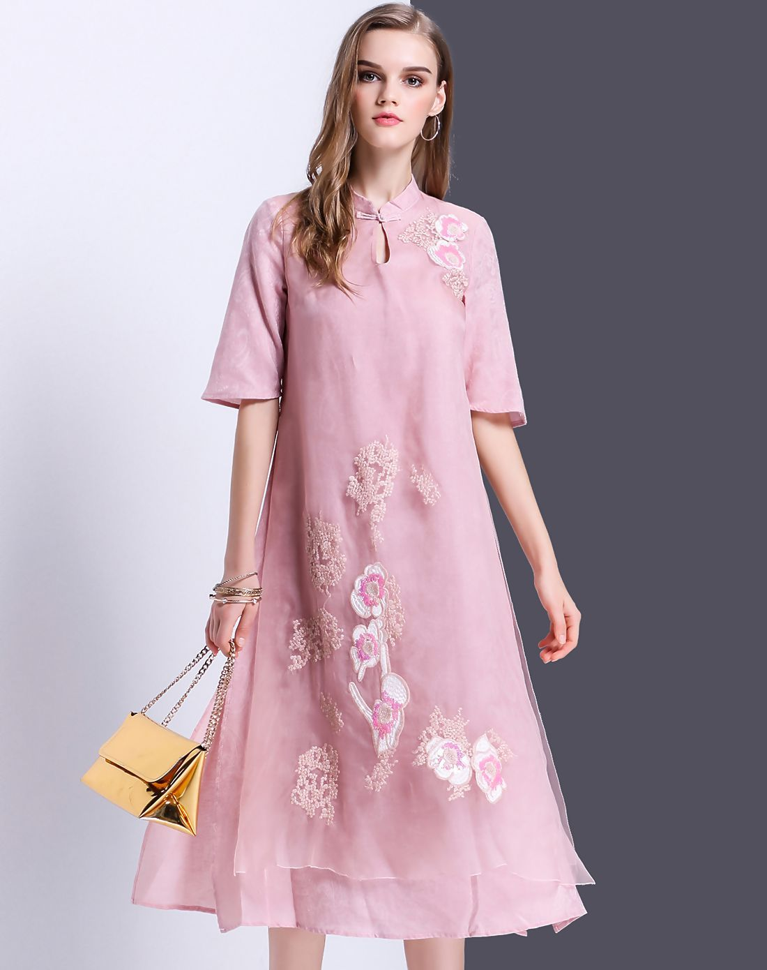 #AdoreWe #VIPme A-Line Dresses - Designer YEARNSANE Pink Silk Keyhole Midi Dress with Split - AdoreWe.com