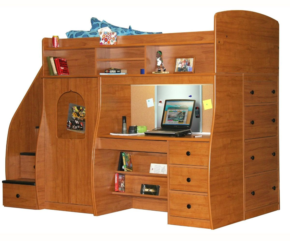 berg furniture play and study twin size loft bed kids. Black Bedroom Furniture Sets. Home Design Ideas