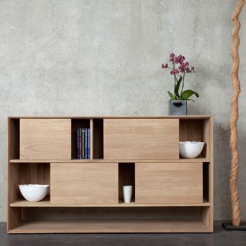 Nordic-R - Mobile soggiorno basso in legno di rovere, con 4 ...