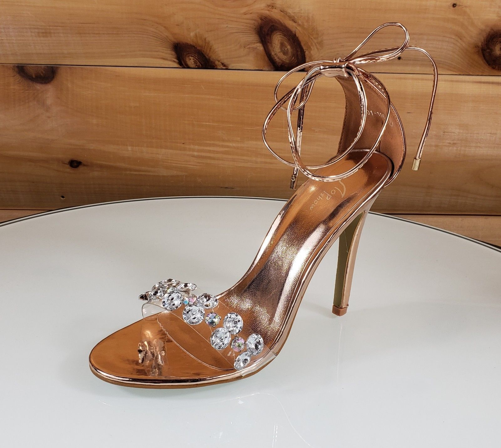 7264de5bfb6b Top Show Rose Gold Tie Up Crystal Toe Strap 4