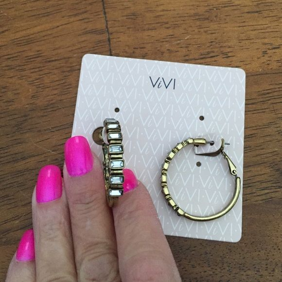 """NWT Brushed Gold Hoops w/Rectangular Stones 1 2/2"""" in diameter brushed gold, lever back hoops.  Rectangular stones Vivi Jewelry Earrings"""
