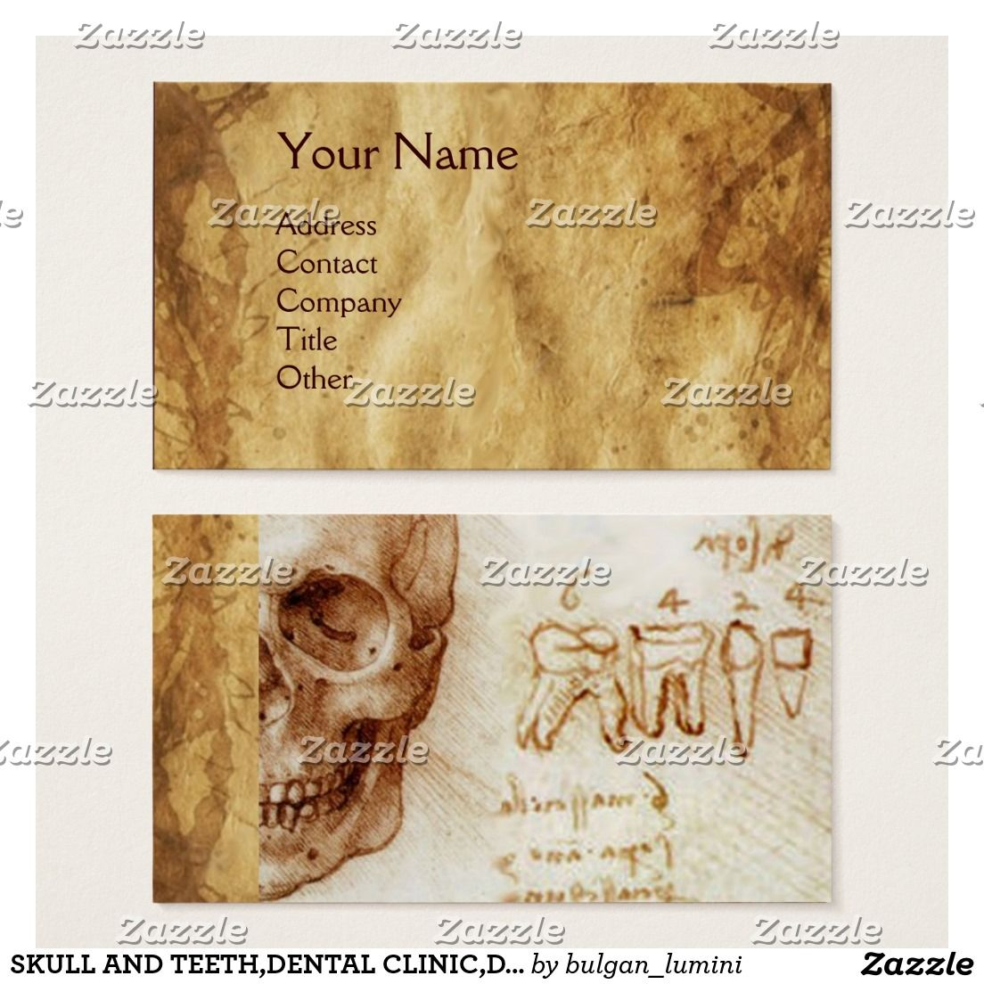Skull and teeth,dental clinic,dentist parchment business card ...