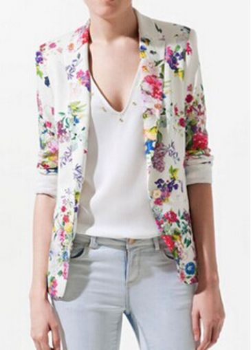 Classic Turndown Collar Long Sleeve Floral Printed Blazer - USD $29.49
