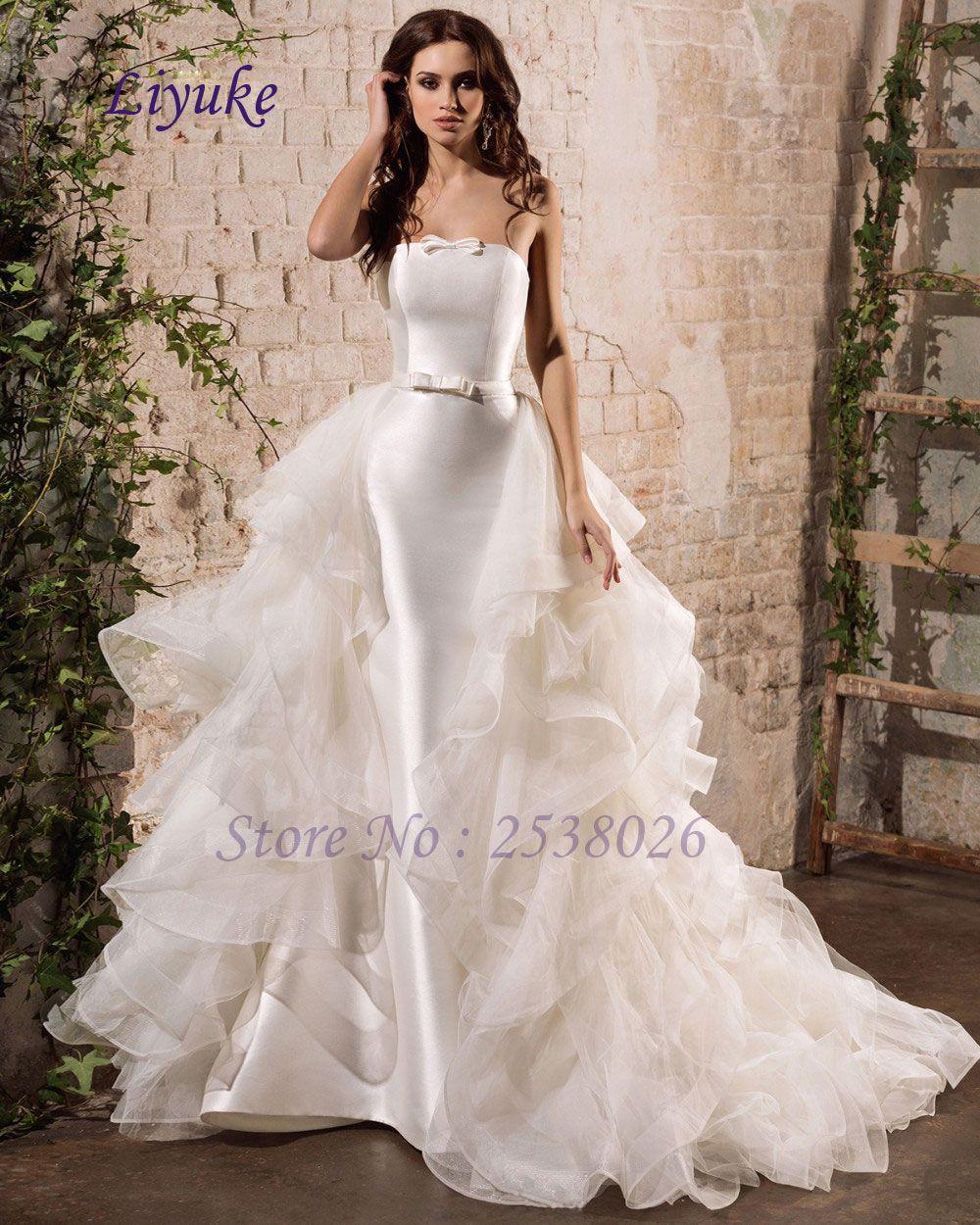 Liyuke j vestidos de novia custom made vintage satin mermaid