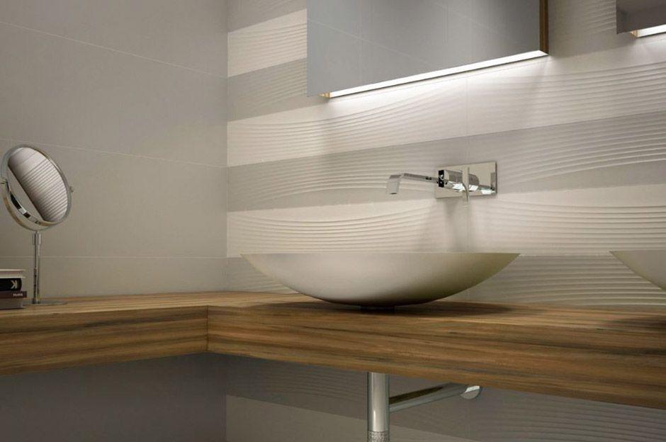 Carrelage mural de salle de bain en fa ence effet vague - Sechoir salle de bain mural ...