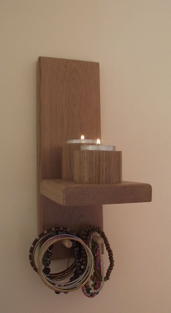 Wall Mount Rustic Candleholders Wallmounted Pillar Candle Sconce Large Wooden Handmade Sconces. Hanging Shelf Floating Shelves Wood Candle Holders Farmhouse Wall Decor