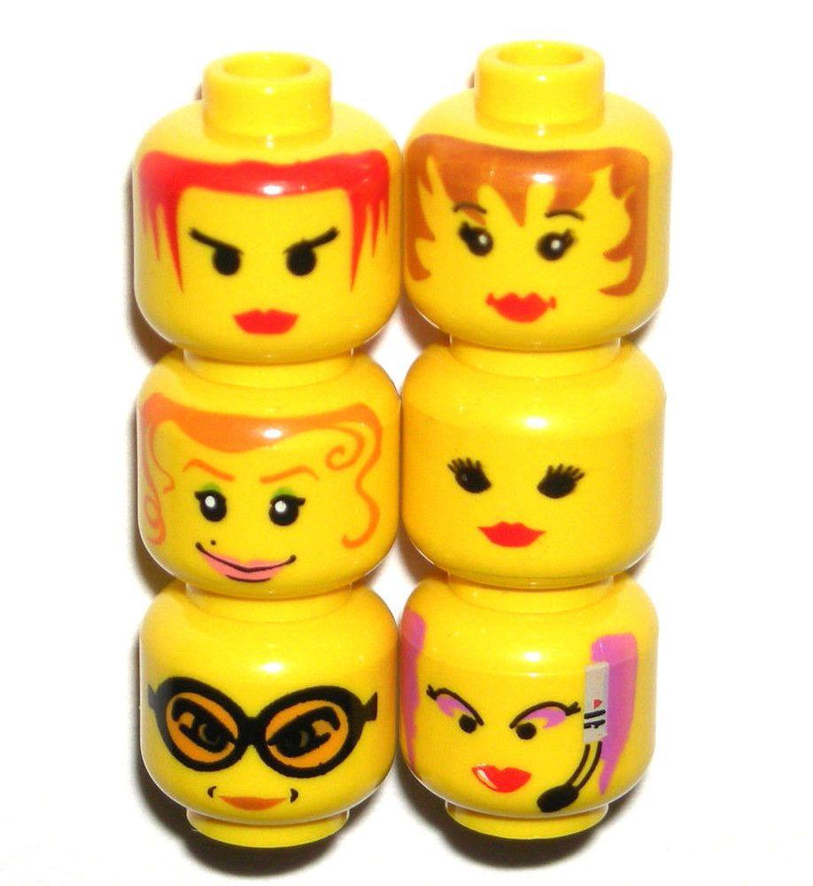 LEGO CHELL HEAD FEMALE GIRL LIGHT FLESH BROWN EYEBROWS ORANGE LIPS DUAL SIDED