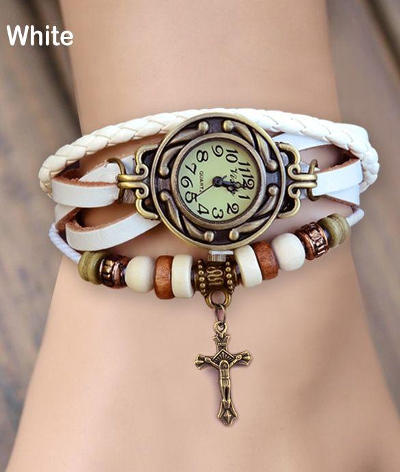 Women's Quartz Cross Pendant Weave Wrap Synthetic Leather Bracelet Wrist Watch $9.09  Free Shipping!
