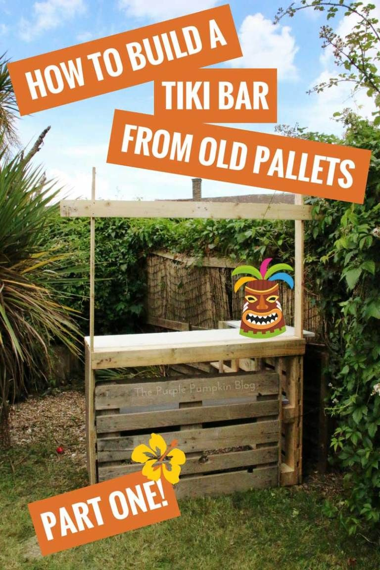 How To Build A Tiki Bar Using Old Pallets + Hawaiian Party Decorations #hawaiianluauparty