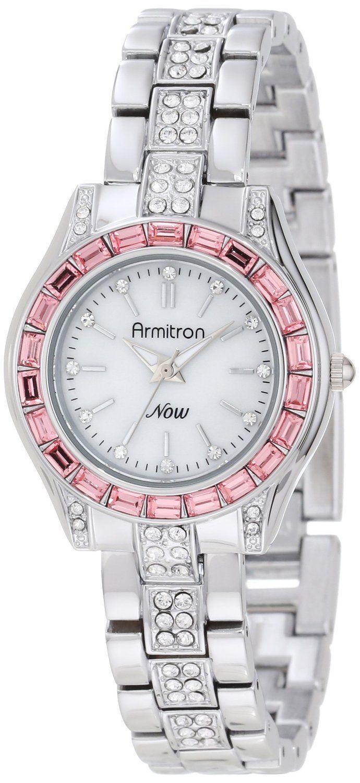 Armitron Women's 75/5053MPSVPK Pink Swarovski Crystal Accented Silver-Tone Bracelet Watch ... from amazon.com on Wanelo