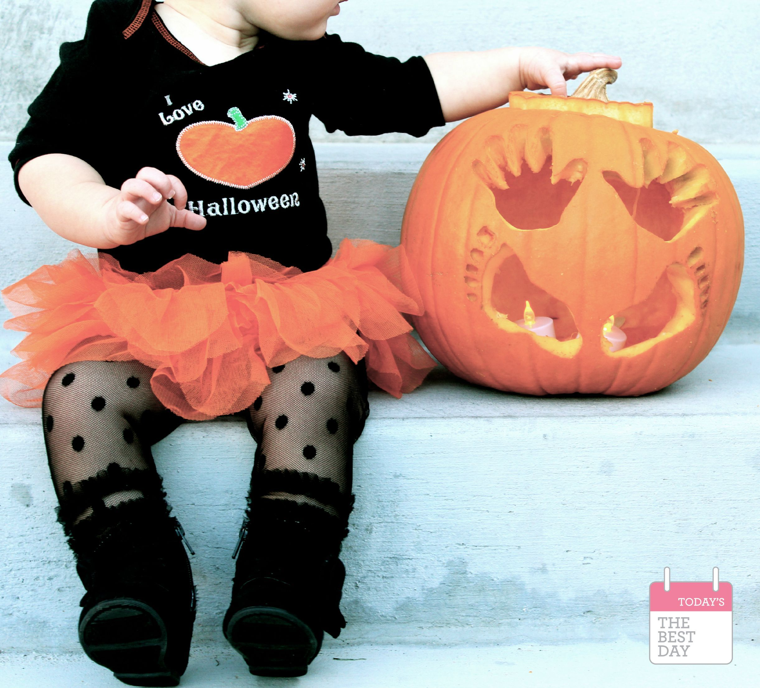 baby's first halloween jack-o-lantern and can we talk about those