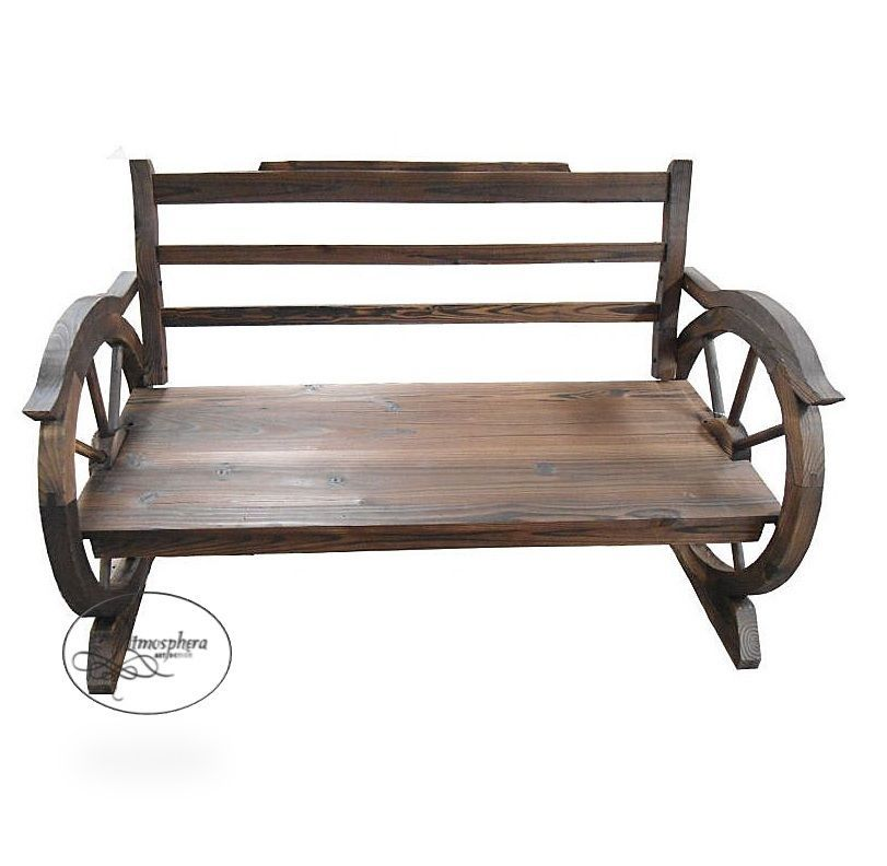 LD Panca da giardino panchina ruota di carro in legno