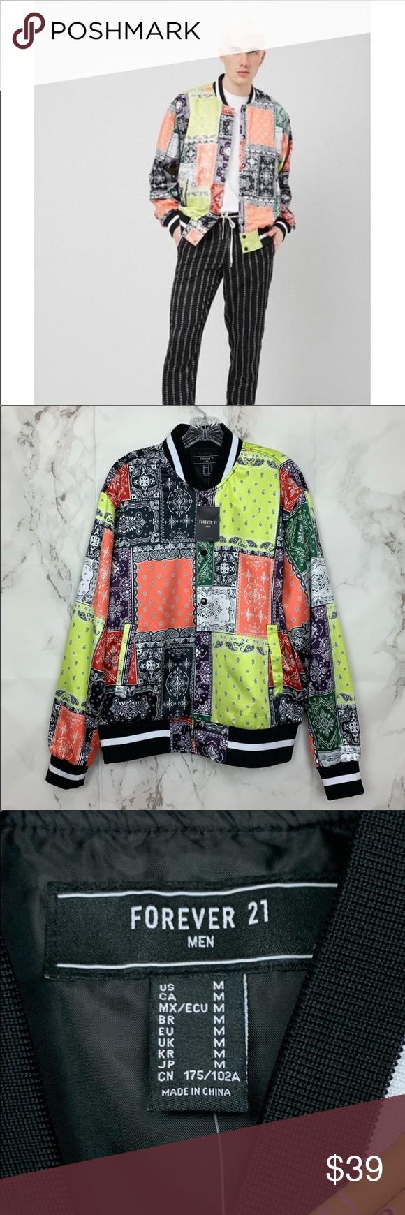 Nwt Forever 21 Men Satin Bandana Bomber Jacket Bomber Jacket Forever 21 Men Clothes Design [ 1740 x 580 Pixel ]