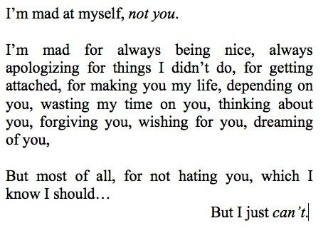 I'm mad at myself