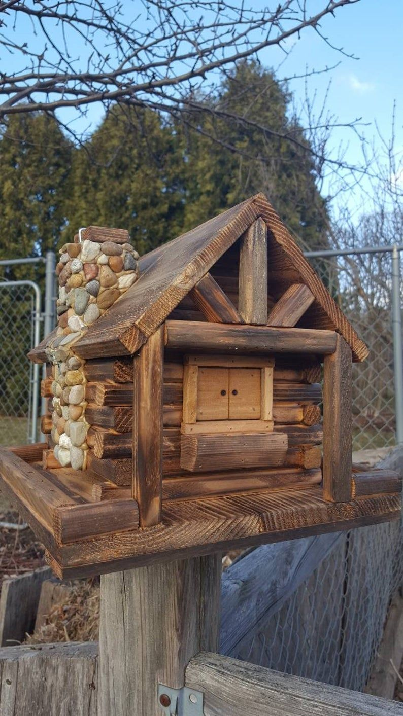 Bird Feeder, Log Cabin Style with Stone Chimney in 2020