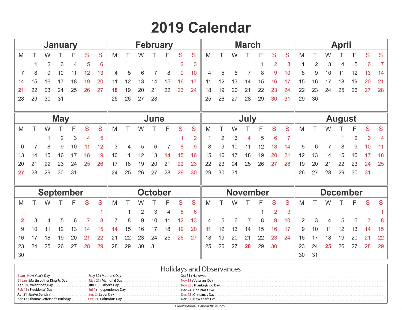 Yearly 2019 Calendar With Holidays 2019Calendar
