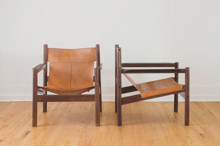 Pair Of Vintage Mid Century Roxinho Leather Sling Chairs Chair Leather Sling Chair Sling Chair