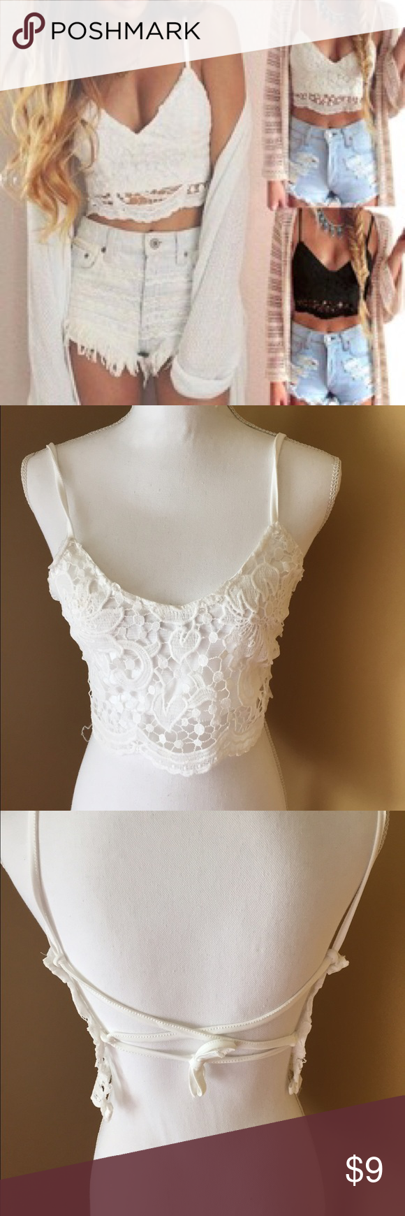 NEW WITHOUT TAGS White lace cross back crop top White crop top with Criss cross back. Has blemishes as shown in the photo. Cannot be seen from far away. Only close up. I have not tried to bleach it yet. Measurements: chest 33.6-34.3  inches and le thing 11.7 inches. The item did not fit my mannequin so I could not correctly Criss cross the back straps. Two straps and three holes for them. Be creative. Tag says size L. That is incorrect. Item has blemished on inside but cannot be seen when…
