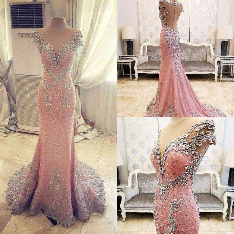 New Arrival Prom Dress,Modest Prom Dress,Luxurious Crystal Pink Mermaid Evening Dress 2017 Zipper Button Back