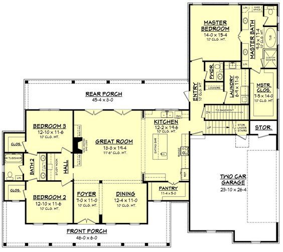 This Traditional Farm House Plan Design Features A Wrap Around Porch That