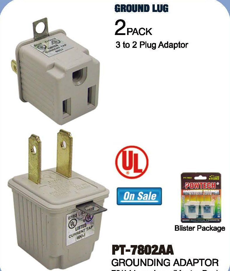 2 Prong To 3 Prong Ac Power Outlet Grounding Adapter Tap Plug Ul Grounded 2pcs Powtech Power Outlet Plugs Wall Taps